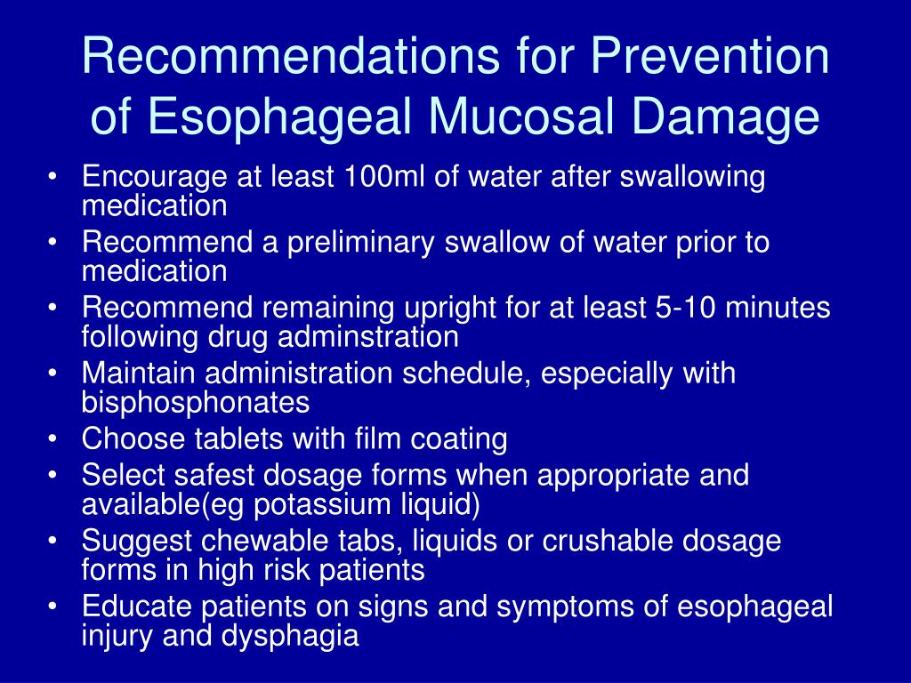 Recommendations for Prevention of Esophageal Mucosal Damage