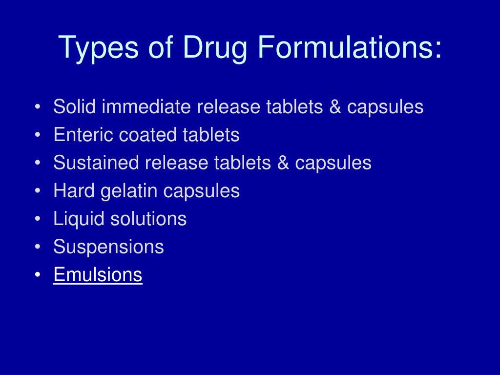 Types of Drug Formulations: