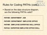 rules for coding paths cont