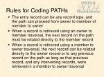 rules for coding paths
