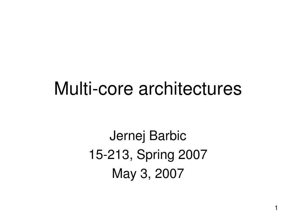 multi core architectures l.