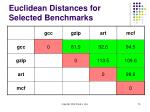 euclidean distances for selected benchmarks