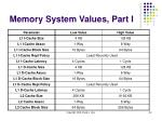 memory system values part i