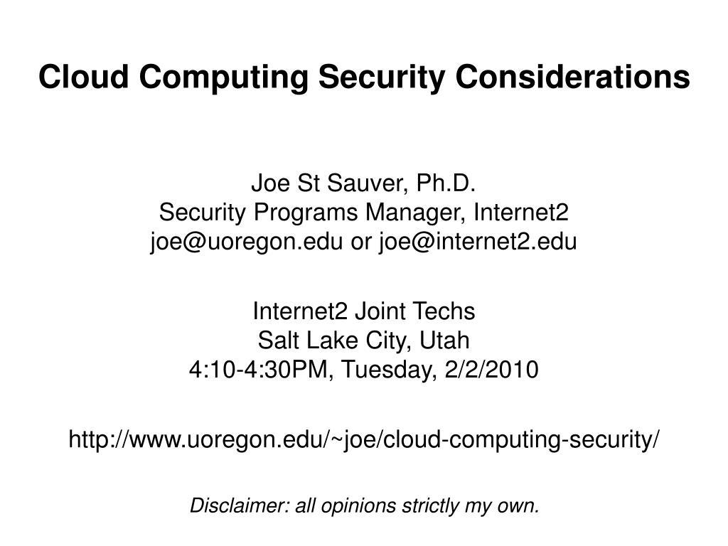 cloud computing security considerations l.