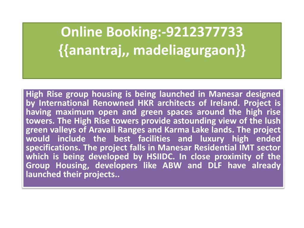 online booking 9212377733 anantraj madeliagurgaon l.