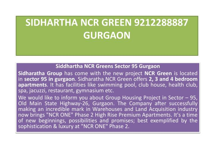 sidhartha ncr green 9212288887 gurgaon n.