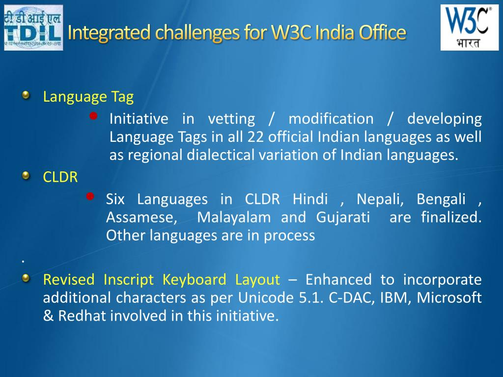 Integrated challenges for W3C India Office