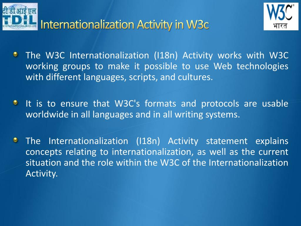 Internationalization Activity in W3c