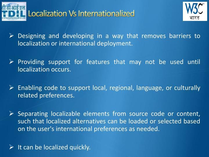 Localization vs internationalized