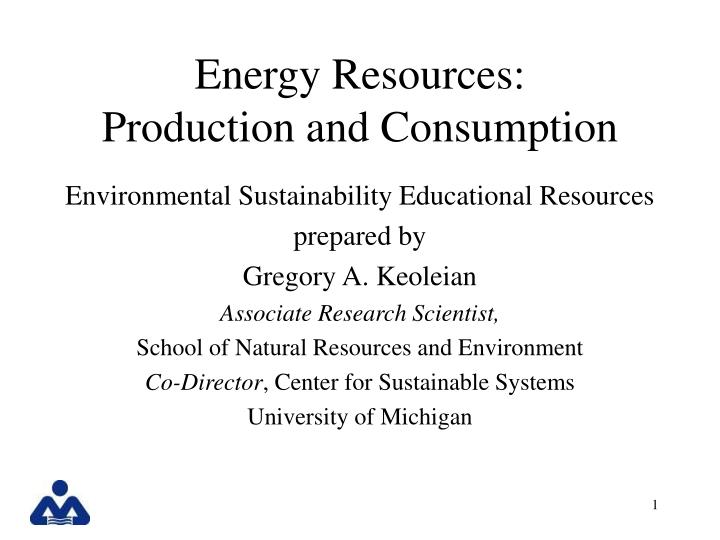 energy resources production and consumption n.