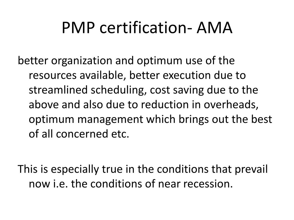 PMP certification- AMA