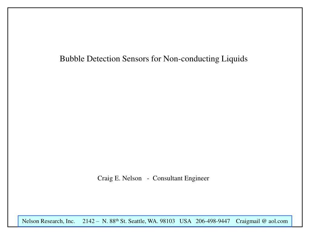 bubble detection sensors for non conducting liquids l.