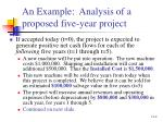 an example analysis of a proposed five year project