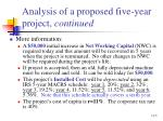 analysis of a proposed five year project continued