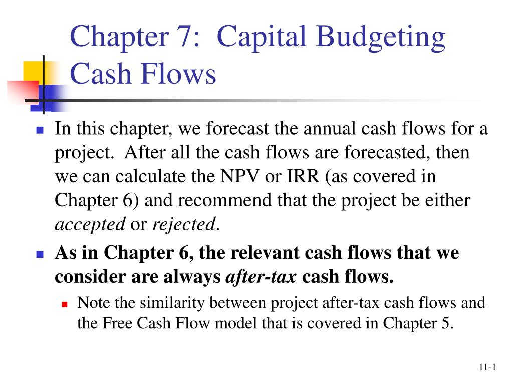 chapter 7 capital budgeting cash flows l.