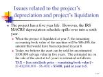 issues related to the project s depreciation and project s liquidation
