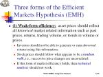 three forms of the efficient markets hypothesis emh