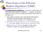 three forms of the efficient markets hypothesis emh6