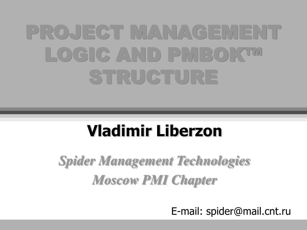 project management logic and pmbok structure l.