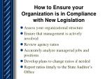 how to ensure your organization is in compliance with new legislation