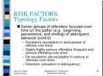 risk factors typology factors62