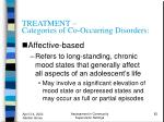 treatment categories of co occurring disorders82
