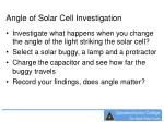 angle of solar cell investigation