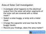 area of solar cell investigation