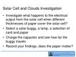 solar cell and clouds investigation