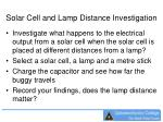 solar cell and lamp distance investigation