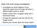 solar cell and lamps investigation