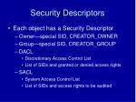 security descriptors