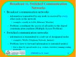 broadcast vs switched communication networks
