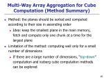 multi way array aggregation for cube computation method summary