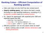 ranking cubes efficient computation of ranking queries
