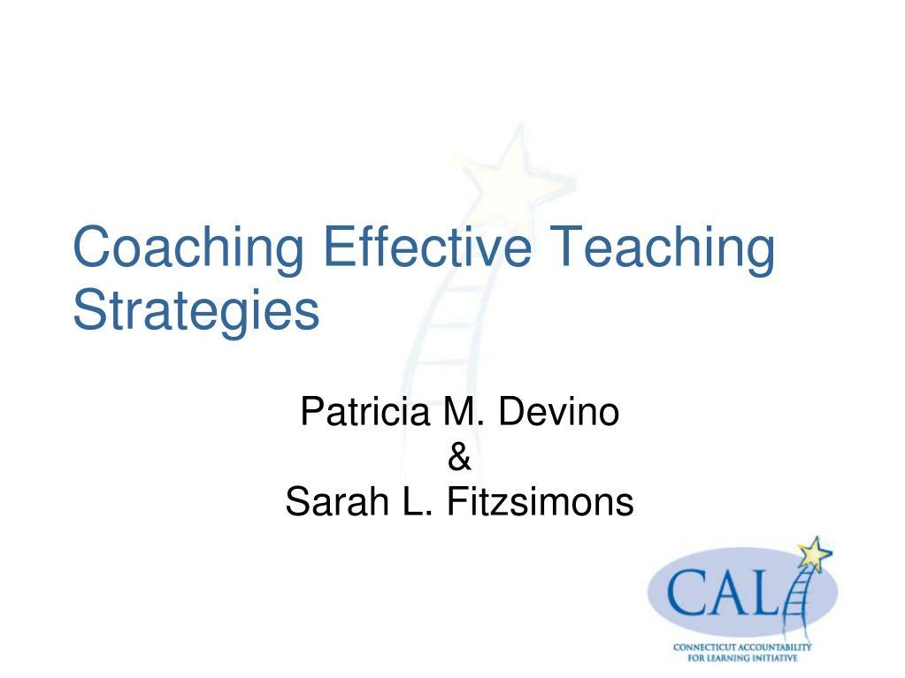 coaching effective teaching strategies l.