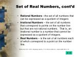set of real numbers cont d