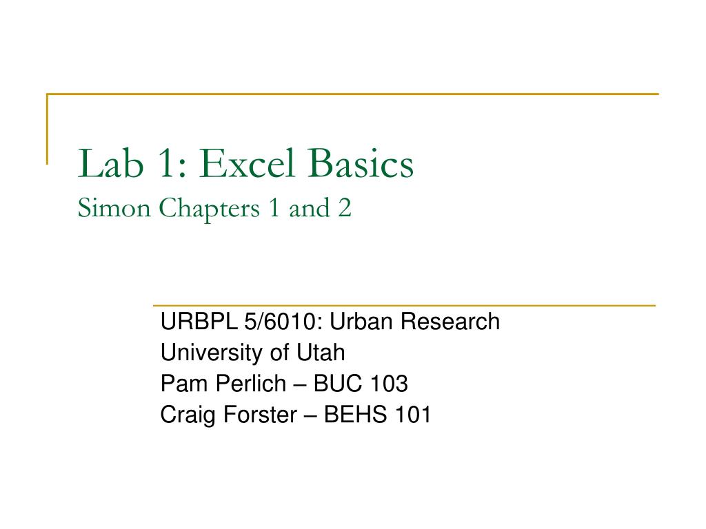 lab 1 excel basics simon chapters 1 and 2 l.