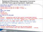relational efficiencies aggregation scenarios define field logical expression optimized