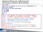relational efficiencies join scenarios performance related to keys attribute