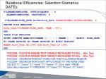 relational efficiencies selection scenarios dates