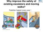 why improve the safety of existing escalators and moving walks