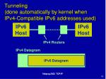 tunneling done automatically by kernel when ipv4 compatible ipv6 addresses used