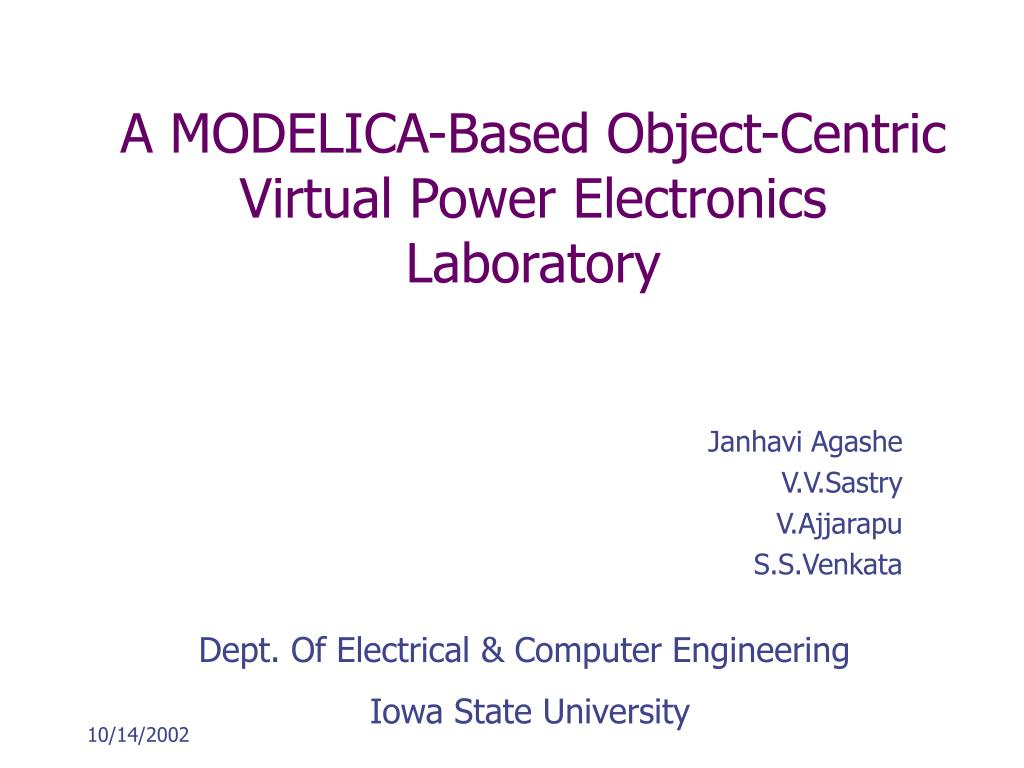 a modelica based object centric virtual power electronics laboratory l.