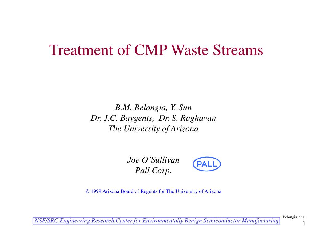 treatment of cmp waste streams l.