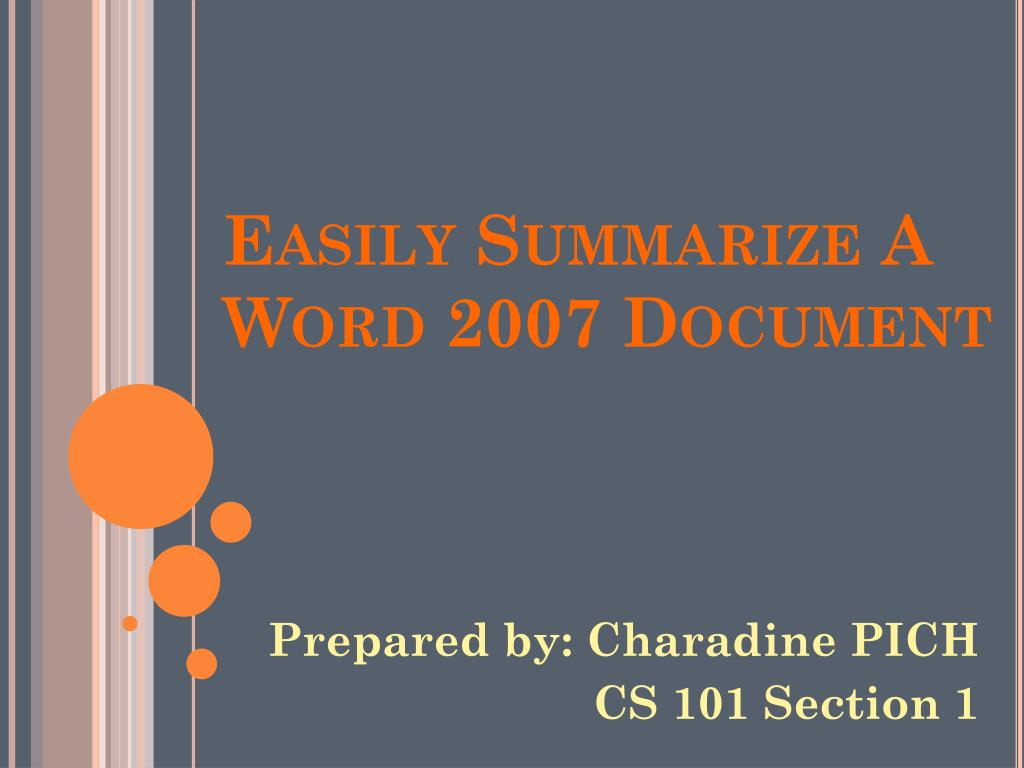 easily summarize a word 2007 document l.