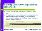 starting office 2007 applications continued