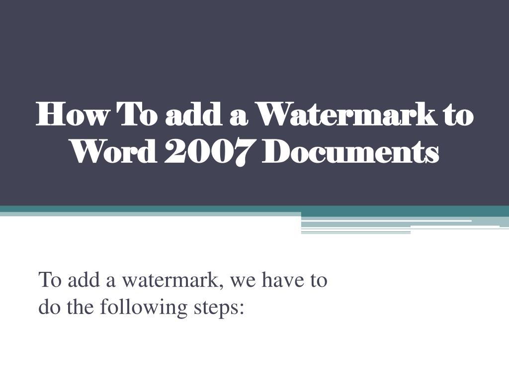 how to add a watermark to word 2007 documents l.