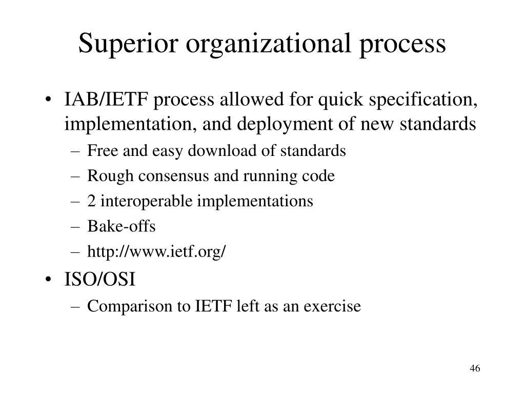 Superior organizational process