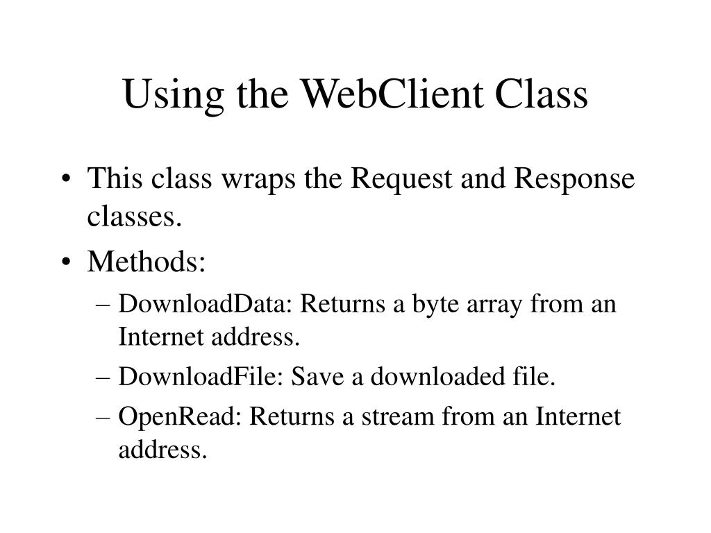 Using the WebClient Class